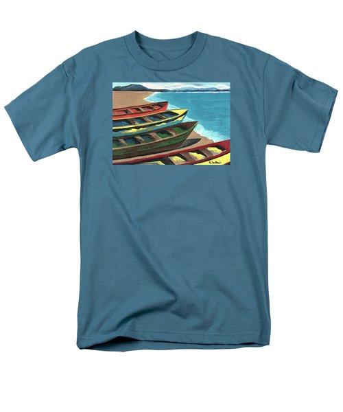 Men's T-Shirt  (Regular Fit) featuring the painting Boats In A Row by Kathleen Sartoris