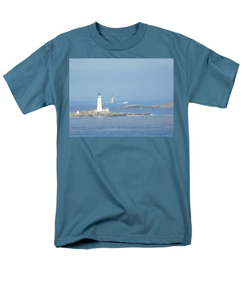 Boston Harbor Lighthouses Men's T-Shirt  (Regular Fit) by Catherine Gagne