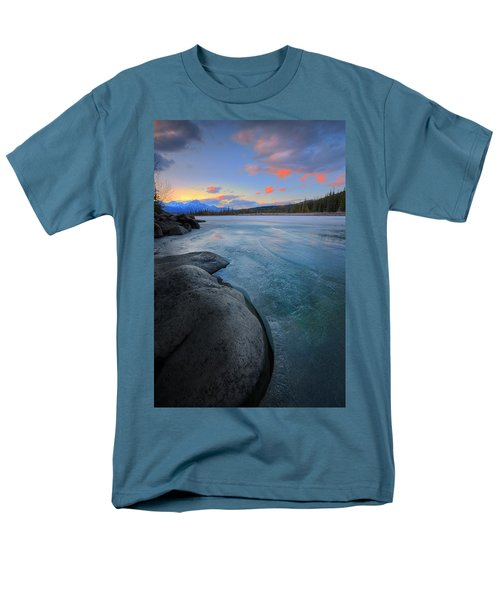 Men's T-Shirt  (Regular Fit) featuring the photograph Boulders And Ice On The Athabasca River by Dan Jurak