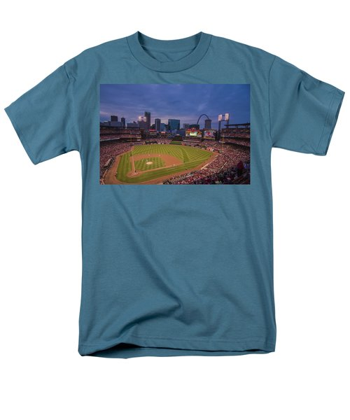 Busch Stadium St. Louis Cardinals Ball Park Village Twilight #3c Men's T-Shirt  (Regular Fit) by David Haskett