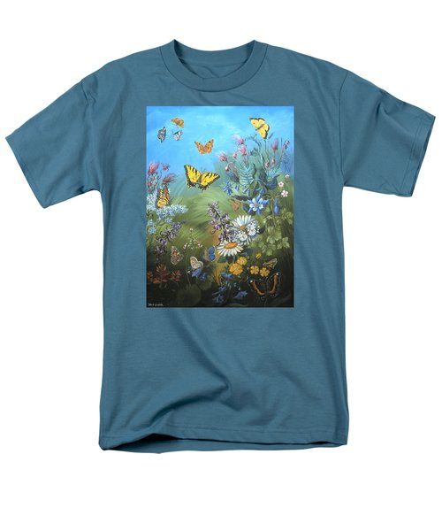 Men's T-Shirt  (Regular Fit) featuring the painting Butterflies And Wildflowers Of Wyoming by Dawn Senior-Trask