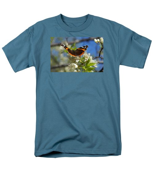 Men's T-Shirt  (Regular Fit) featuring the photograph Butterfly On Blossoms by Steven Clipperton