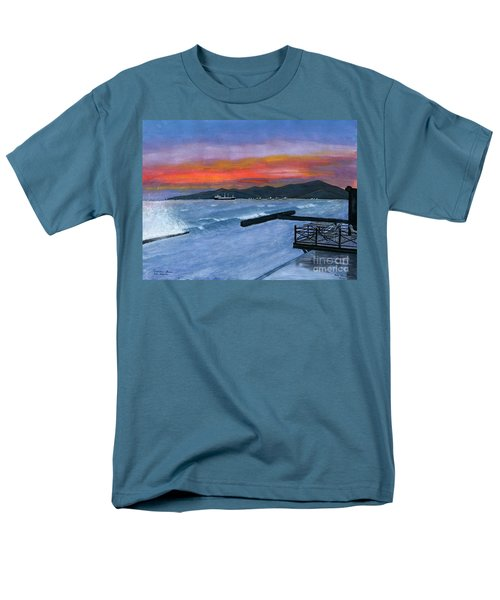 Men's T-Shirt  (Regular Fit) featuring the painting Candidasa Sunset Bali Indonesia by Melly Terpening