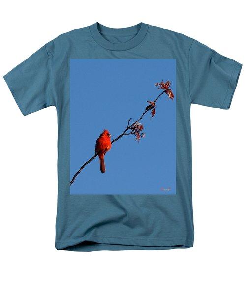 Men's T-Shirt  (Regular Fit) featuring the photograph Cardinal On A Cherry Branch Dsb033 by Gerry Gantt