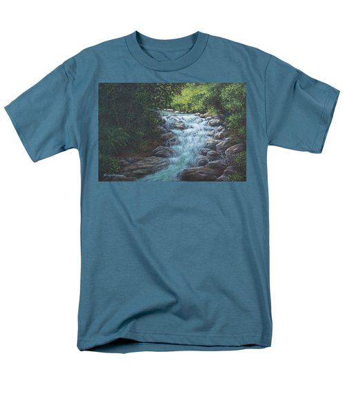 Men's T-Shirt  (Regular Fit) featuring the painting Cascading Stream by Kim Lockman