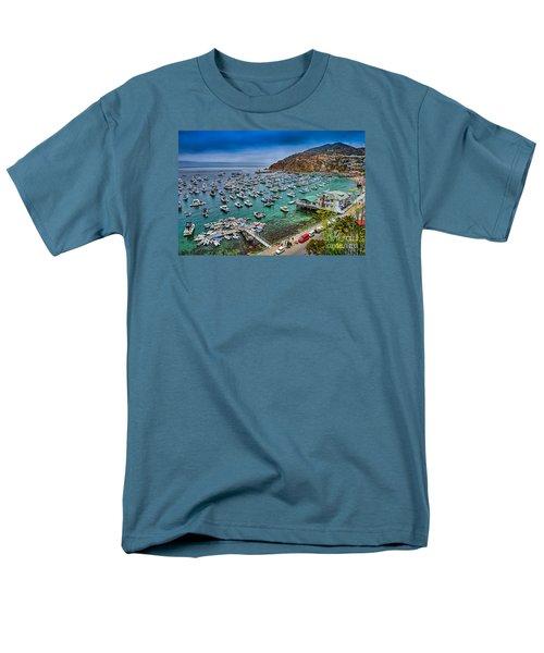 Catalina Island  Avalon Harbor Men's T-Shirt  (Regular Fit) by David Zanzinger