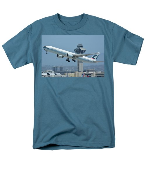 Men's T-Shirt  (Regular Fit) featuring the photograph Cathay Pacific Boeing 777-367er B-kph Los Angeles International Airport May 3 2016 by Brian Lockett