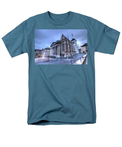 Cathedral Saint-pierre, Peter, In The Old City, Geneva, Switzerland, Hdr Men's T-Shirt  (Regular Fit) by Elenarts - Elena Duvernay photo