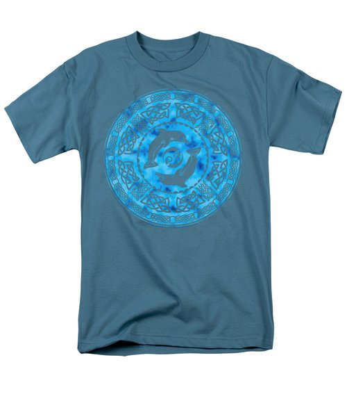 Men's T-Shirt  (Regular Fit) featuring the mixed media Celtic Dolphins by Kristen Fox