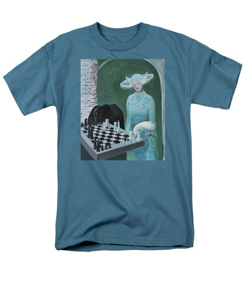 Men's T-Shirt  (Regular Fit) featuring the painting Chess - The Queen Waits by Tone Aanderaa
