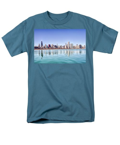 Men's T-Shirt  (Regular Fit) featuring the photograph Chicago Skyline Reflecting In Lake Michigan by Peter Ciro