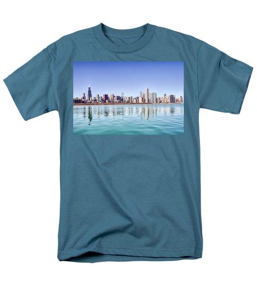Chicago Skyline Reflecting In Lake Michigan Men's T-Shirt  (Regular Fit) by Peter Ciro