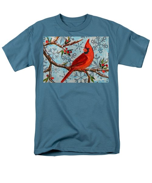 Christmas Cardinal Men's T-Shirt  (Regular Fit) by Li Newton