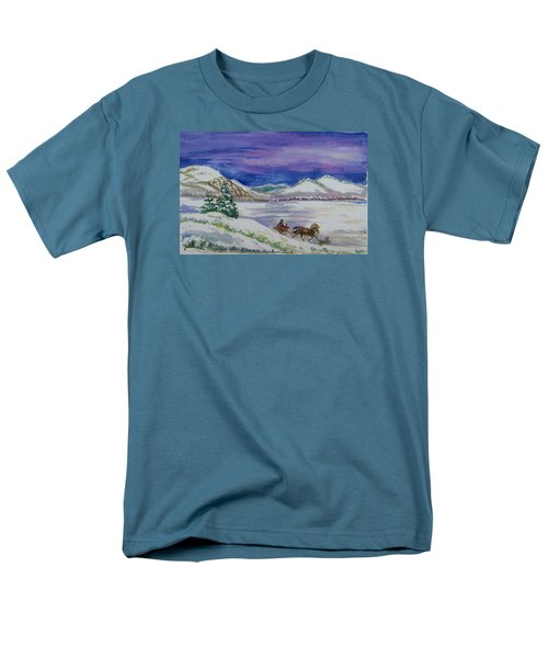 Men's T-Shirt  (Regular Fit) featuring the painting Christmas Sleigh by Dawn Senior-Trask
