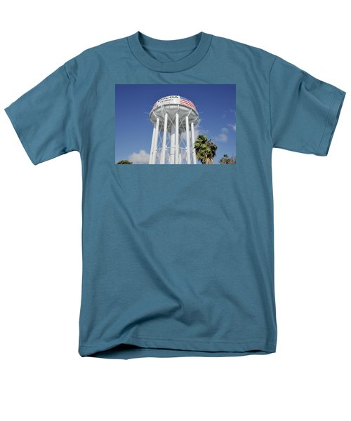 Cocoa Water Tower With American Flag Men's T-Shirt  (Regular Fit) by Bradford Martin