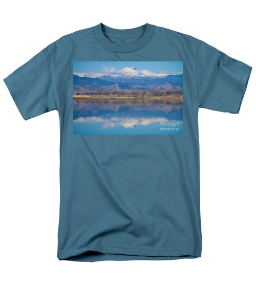 Colorado Longs Peak Circling Clouds Reflection Men's T-Shirt  (Regular Fit) by James BO  Insogna