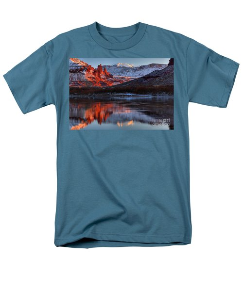 Men's T-Shirt  (Regular Fit) featuring the photograph Colorado Red Tower Reflections by Adam Jewell