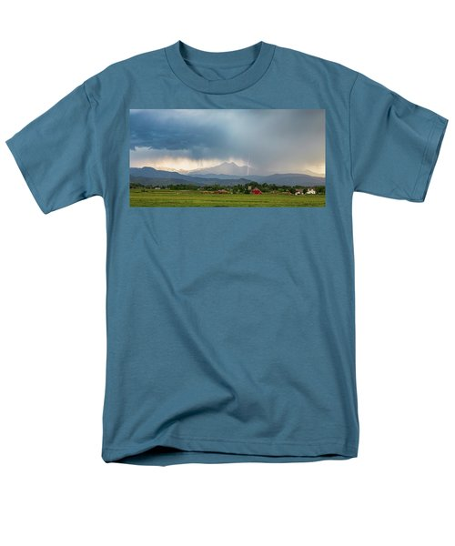 Men's T-Shirt  (Regular Fit) featuring the photograph Colorado Rocky Mountain Red Barn Country Storm by James BO Insogna