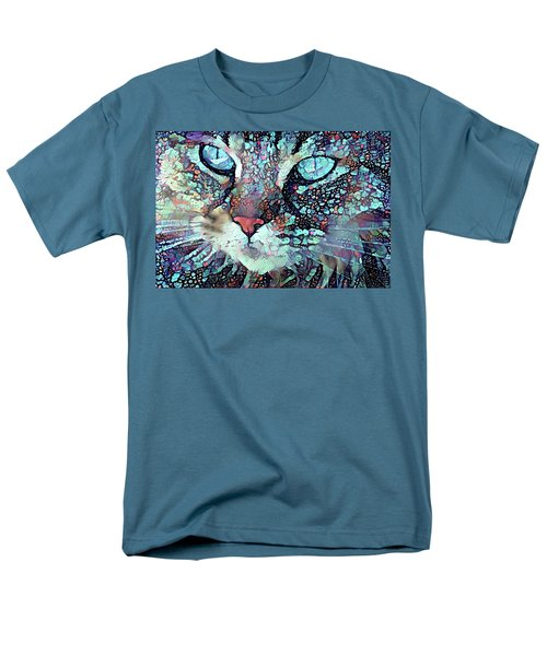 Colorful Flower Cat Art - A Cat Called Blue Men's T-Shirt  (Regular Fit) by Peggy Collins