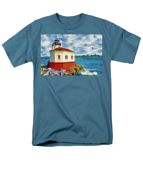 Men's T-Shirt  (Regular Fit) featuring the painting Coquille River Lighthouse by Jeff Kolker