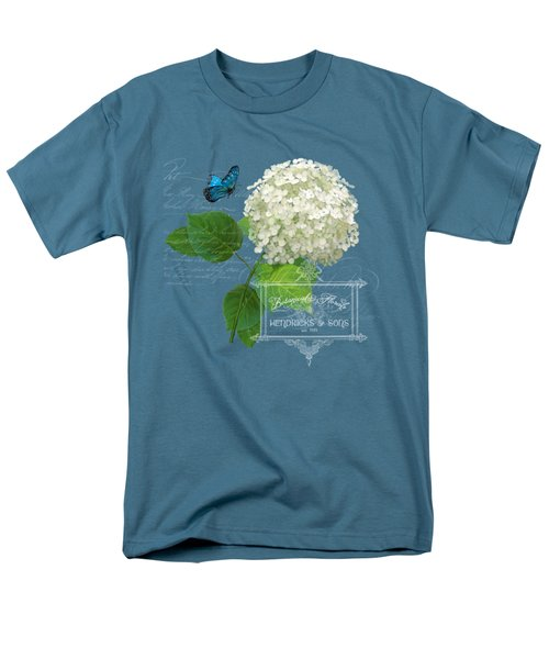 Men's T-Shirt  (Regular Fit) featuring the painting Cottage Garden White Hydrangea With Blue Butterfly by Audrey Jeanne Roberts
