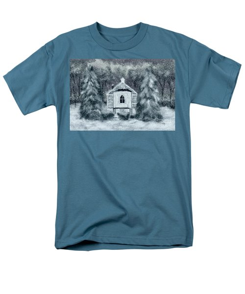 Men's T-Shirt  (Regular Fit) featuring the digital art Country Church On A Snowy Night by Lois Bryan