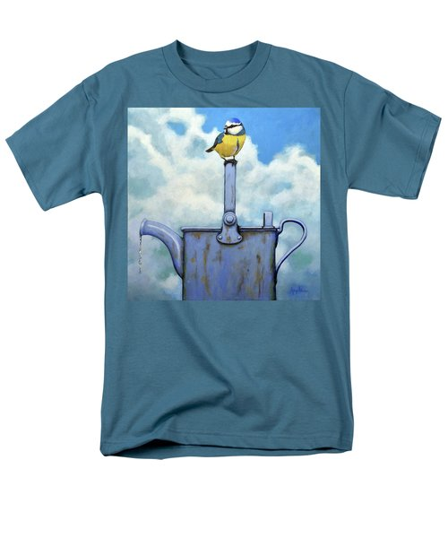 Cute Blue-tit Realistic Bird Portrait On Antique Watering Can Men's T-Shirt  (Regular Fit) by Linda Apple
