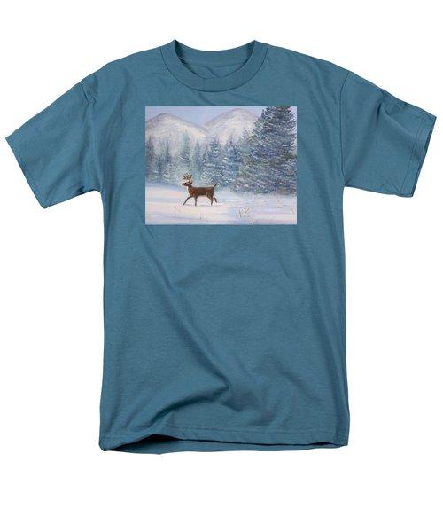 Deer In The Snow Men's T-Shirt  (Regular Fit) by Denise Fulmer