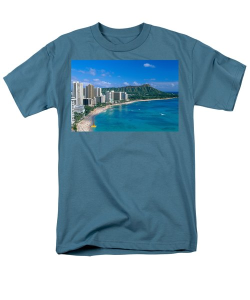 Diamond Head And Waikiki Men's T-Shirt  (Regular Fit) by William Waterfall - Printscapes