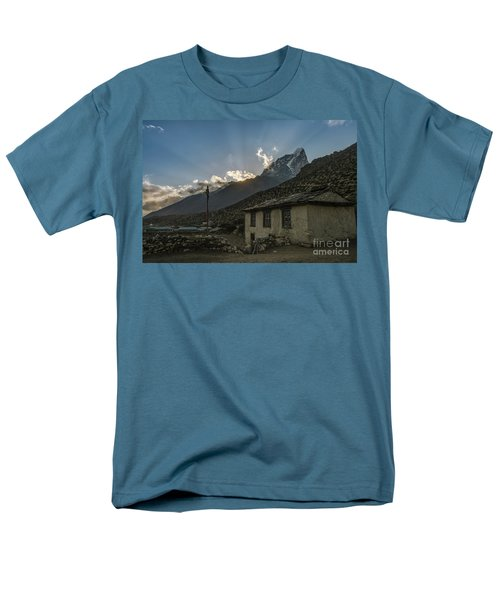 Men's T-Shirt  (Regular Fit) featuring the photograph Dingboche Nepal Sunrays by Mike Reid