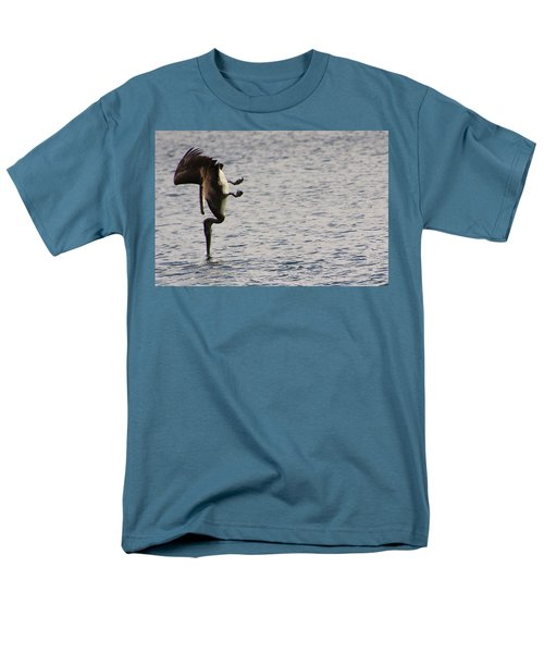 Men's T-Shirt  (Regular Fit) featuring the photograph Diving Pelican by Laurel Talabere