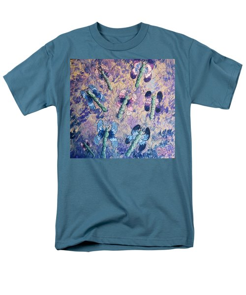 Men's T-Shirt  (Regular Fit) featuring the painting Dragons In Indigo And Lavender by Megan Walsh