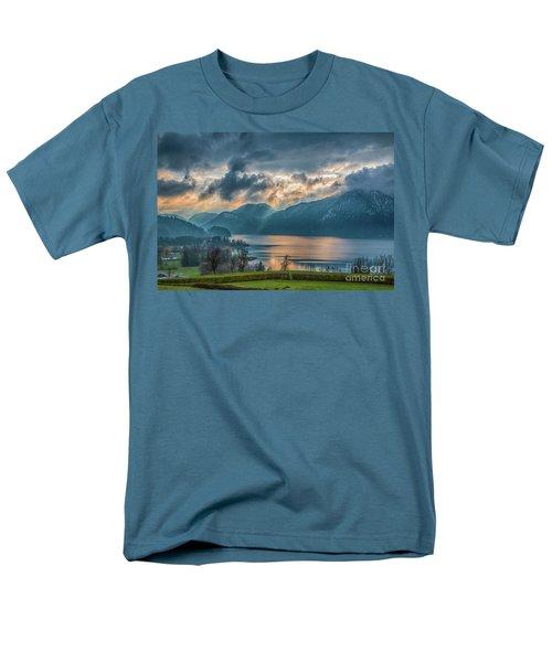 Dramatic Sunset Over Mondsee, Upper Austria Men's T-Shirt  (Regular Fit) by Jivko Nakev