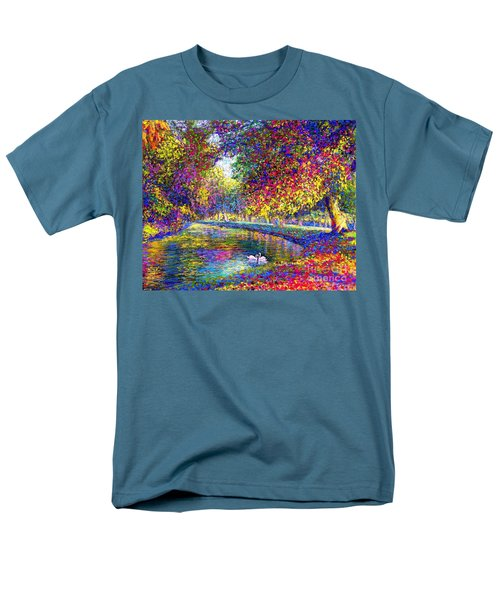 Men's T-Shirt  (Regular Fit) featuring the painting Drifting Beauties, Swans, Colorful Modern Impressionism by Jane Small