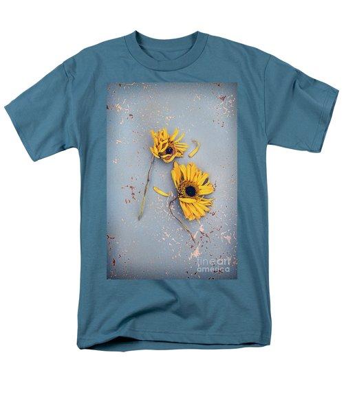 Men's T-Shirt  (Regular Fit) featuring the photograph Dry Sunflowers On Blue by Jill Battaglia