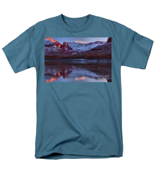 Men's T-Shirt  (Regular Fit) featuring the photograph Dusk At Fisher Towers by Adam Jewell