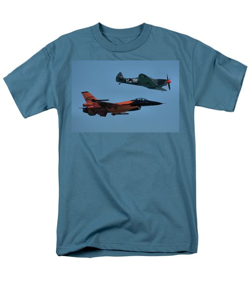 Men's T-Shirt  (Regular Fit) featuring the photograph Dutch F-16 And Spitfire by Tim Beach