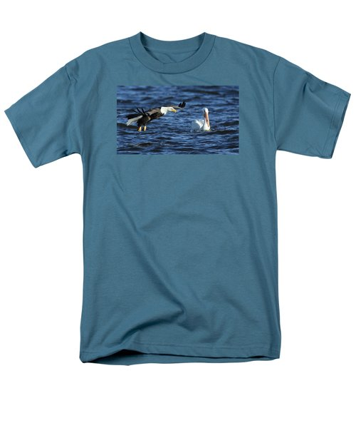 Men's T-Shirt  (Regular Fit) featuring the photograph Eagle And Pelican by Coby Cooper