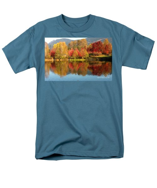 Men's T-Shirt  (Regular Fit) featuring the painting Early Fall At Lafarge Lake by Rod Jellison