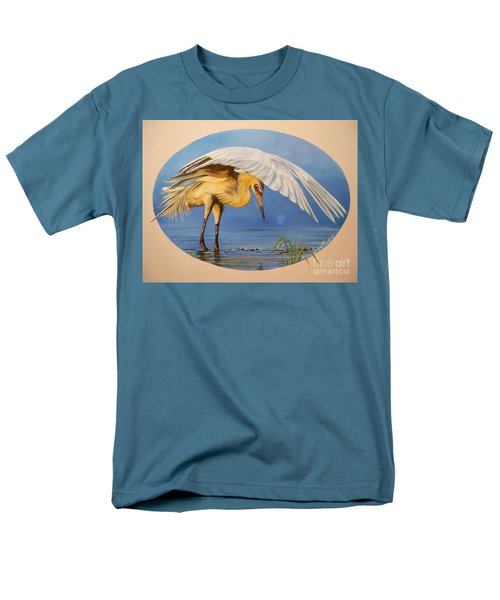 Men's T-Shirt  (Regular Fit) featuring the painting Egret Fishing by Sigrid Tune