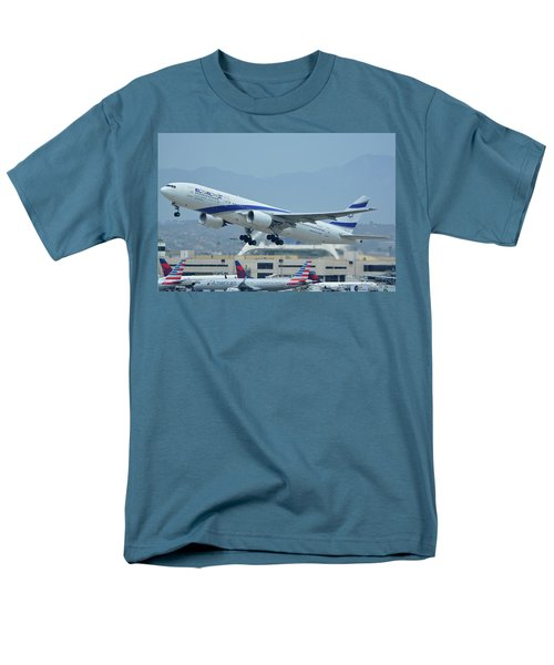 Men's T-Shirt  (Regular Fit) featuring the photograph El Al Boeing 777-258er 4x-ece Los Angeles International Airport May 3 2016 by Brian Lockett