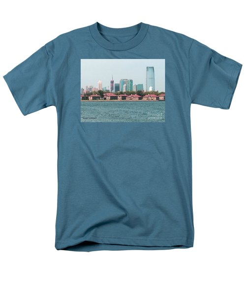 Men's T-Shirt  (Regular Fit) featuring the painting Ellis Island And Nyc by Denise Tomasura