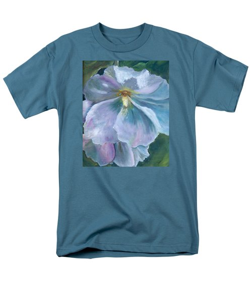 Men's T-Shirt  (Regular Fit) featuring the painting Ethereal White Hollyhock by Jane Autry