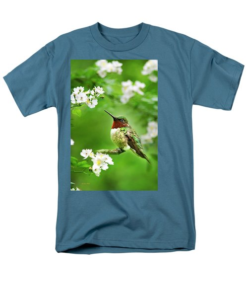 Fauna And Flora - Hummingbird With Flowers Men's T-Shirt  (Regular Fit) by Christina Rollo