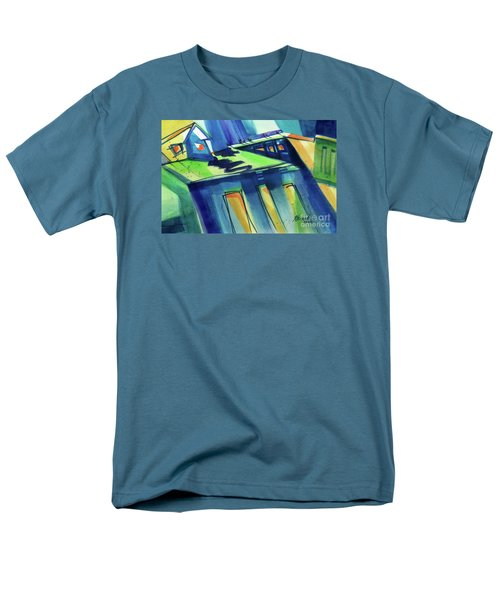 Men's T-Shirt  (Regular Fit) featuring the painting Feedmill In Blue And Green by Kathy Braud