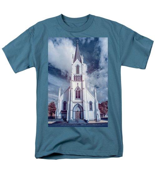Ferndale Church In Infrared Men's T-Shirt  (Regular Fit) by Greg Nyquist