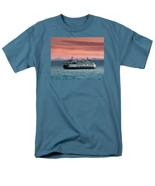 Ferry Cathlamet At Dawn.1 Men's T-Shirt  (Regular Fit) by E Faithe Lester