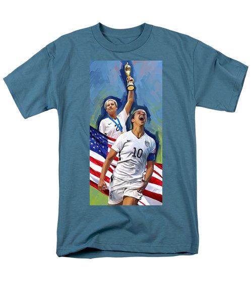 Men's T-Shirt  (Regular Fit) featuring the painting Fifa World Cup U.s Women Soccer Carli Lloyd Abby Wambach Artwork by Sheraz A