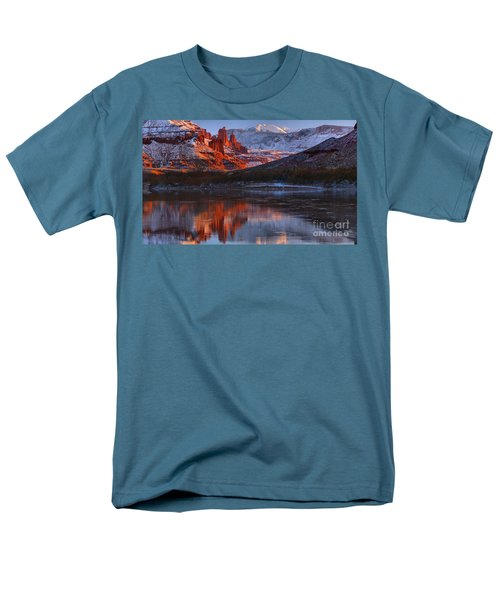 Men's T-Shirt  (Regular Fit) featuring the photograph Fisher Towers And La Sal Mountains by Adam Jewell
