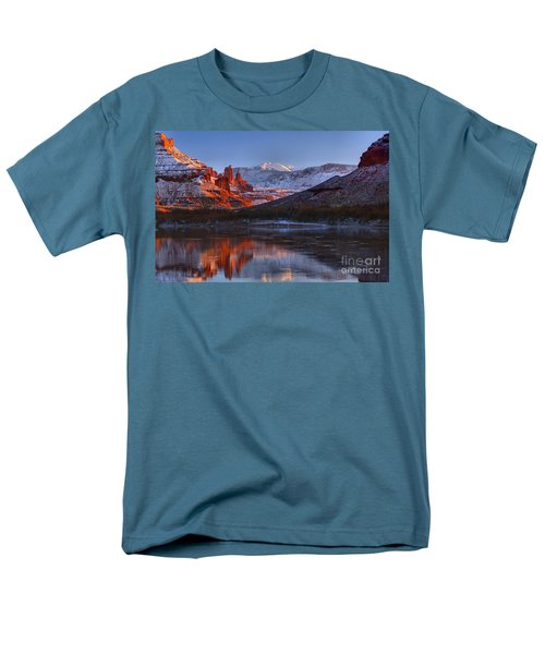 Men's T-Shirt  (Regular Fit) featuring the photograph Fisher Towers Glowing Reflections by Adam Jewell